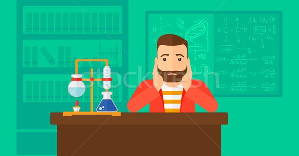 Człowiek rozpacz głowie broda chemia Zdjęcia stock © RAStudio