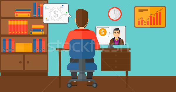 üzlet videó tárgyalás férfi ül iroda Stock fotó © RAStudio