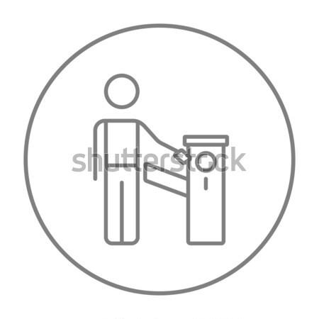 Man at car barrier line icon. Stock photo © RAStudio