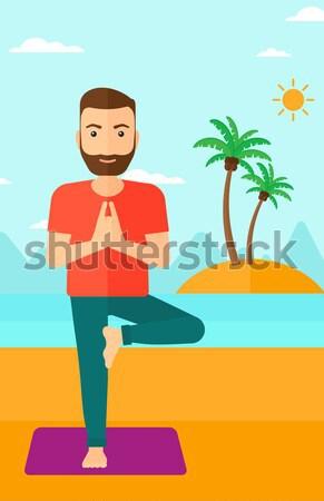 Foto stock: Hombre · yoga · Asia · pie · árbol