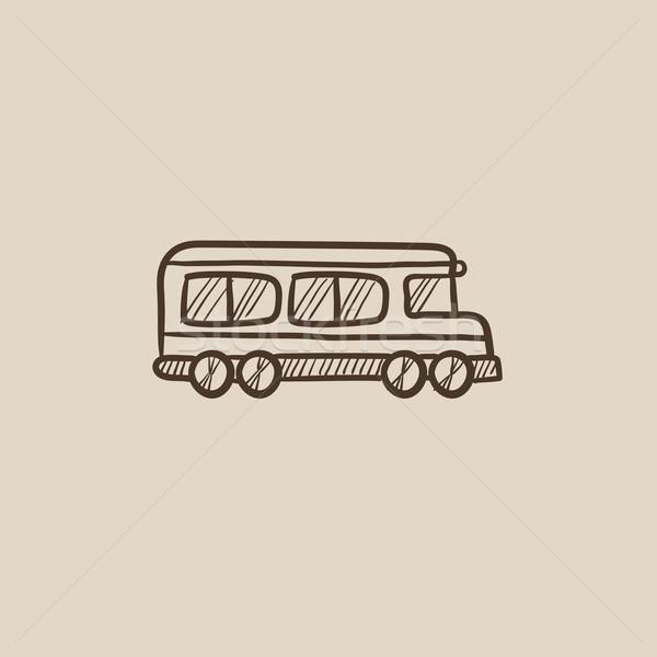 スクールバス スケッチ アイコン ウェブ 携帯 インフォグラフィック ストックフォト © RAStudio