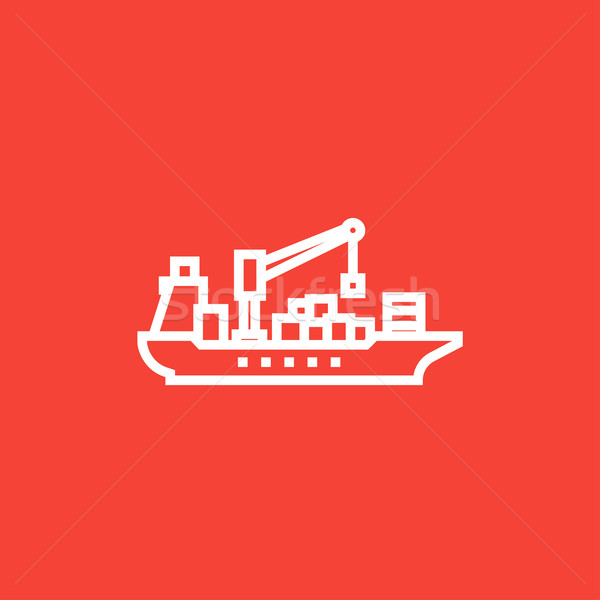 Carga navio porta-contentores linha ícone teia Foto stock © RAStudio