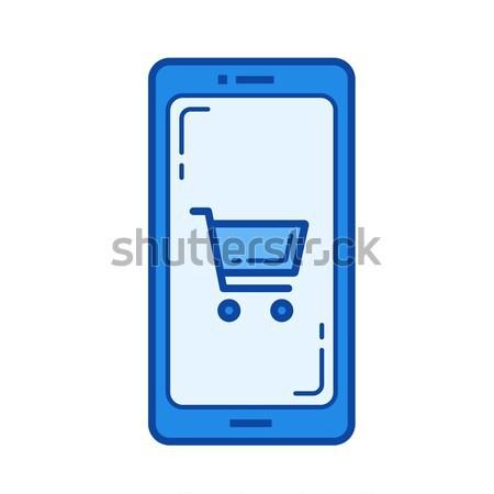Stockfoto: Online · winkelen · lijn · icon · mobiele · telefoon · winkelwagen · scherm