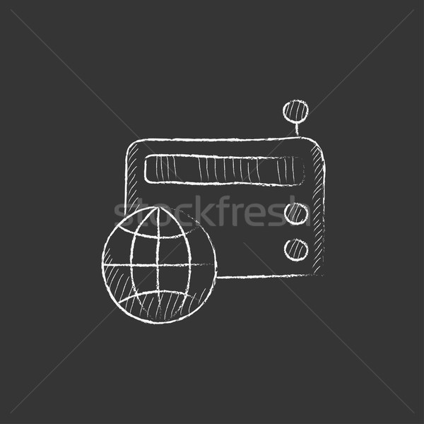 Retro radio. Drawn in chalk icon. Stock photo © RAStudio
