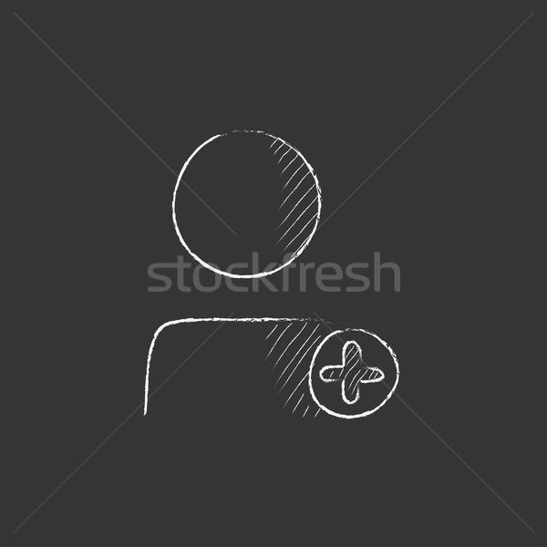 Felhasználó profil plusz jel rajzolt kréta ikon Stock fotó © RAStudio