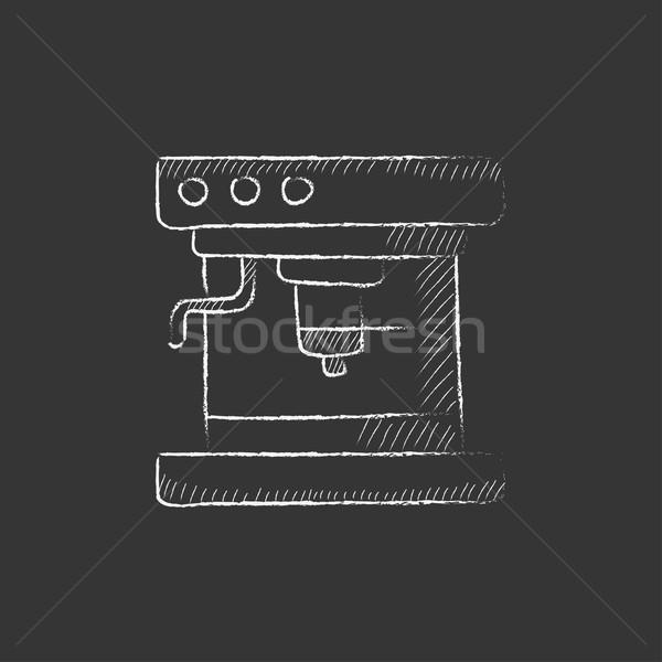 кофеварка мелом икона рисованной вектора Сток-фото © RAStudio
