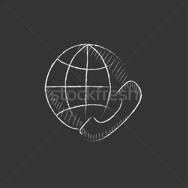 Global communications. Drawn in chalk icon. Stock photo © RAStudio