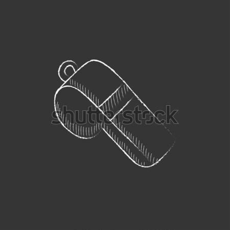 Whistle. Drawn in chalk icon. Stock photo © RAStudio