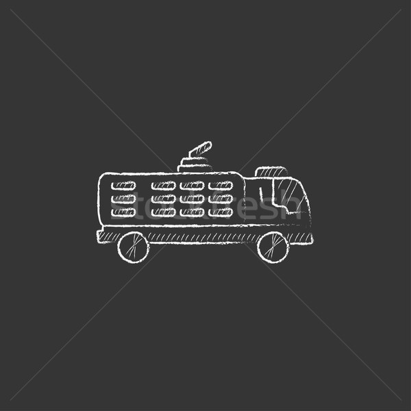 Fire truck. Drawn in chalk icon. Stock photo © RAStudio