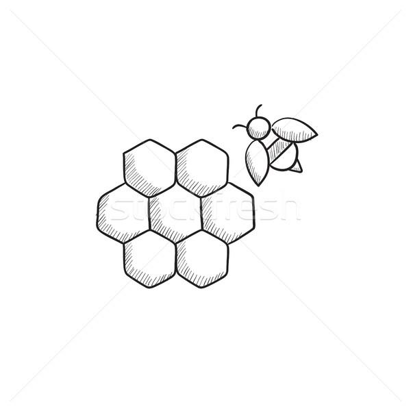 Petek arı kroki ikon web hareketli Stok fotoğraf © RAStudio