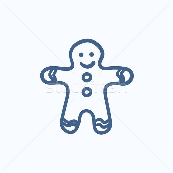 Gingerbread man sketch icon. Stock photo © RAStudio