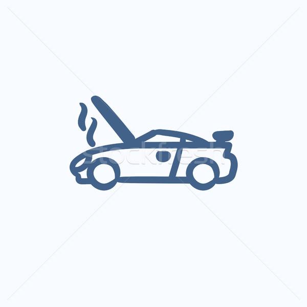 Broken car with open hood sketch icon. Stock photo © RAStudio