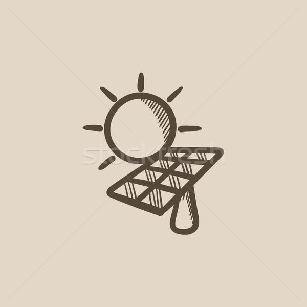Energia solar esboço ícone vetor isolado Foto stock © RAStudio