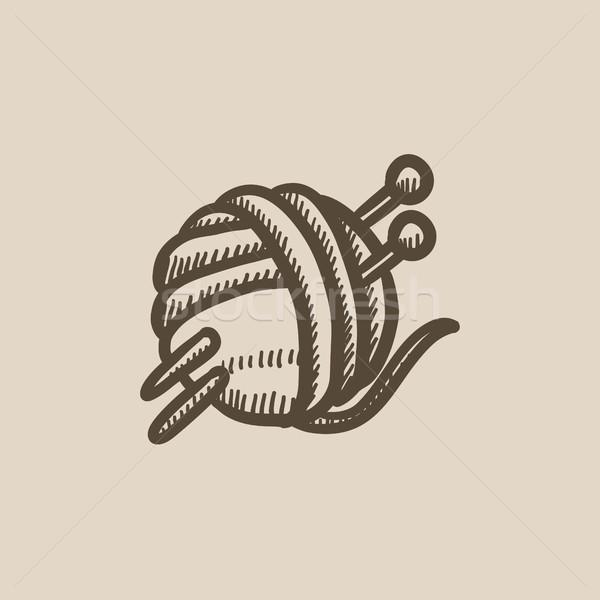 Threads for knitting with spokes sketch icon. Stock photo © RAStudio