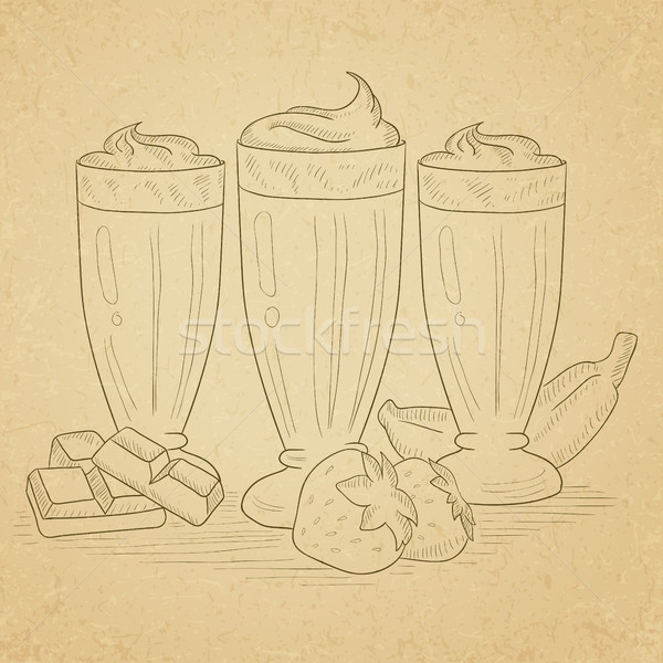 Banana, strawberry and chocolate smoothies. Stock photo © RAStudio