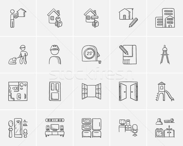 Stockfoto: Bouw · schets · web · mobiele · infographics