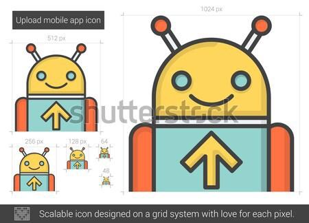 アップロード 携帯 アプリ 行 アイコン ベクトル ストックフォト © RAStudio