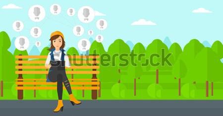 Woman playing flying disc vector illustration. Stock photo © RAStudio