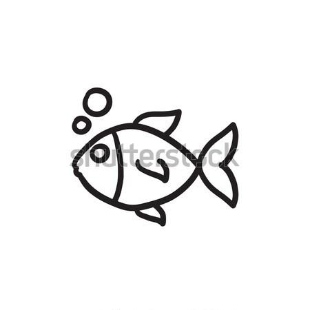 Little fish under water sketch icon. Stock photo © RAStudio