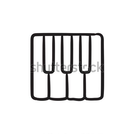 Pianotoetsen schets icon vector geïsoleerd Stockfoto © RAStudio