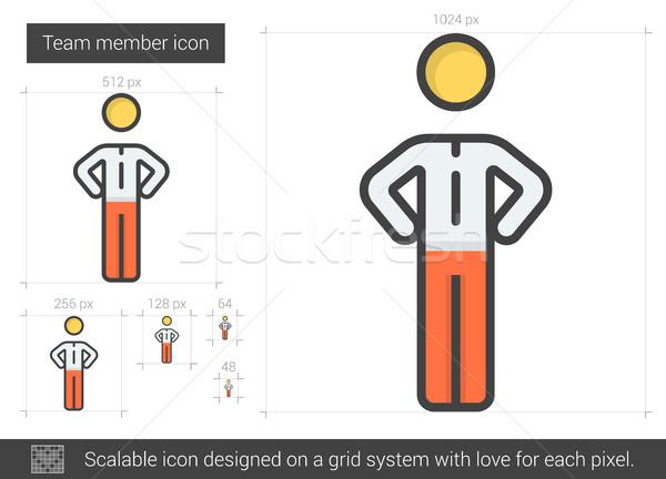 команда член линия икона вектора изолированный Сток-фото © RAStudio