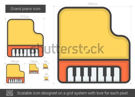 Kuyruklu piyano hat ikon vektör yalıtılmış beyaz Stok fotoğraf © RAStudio