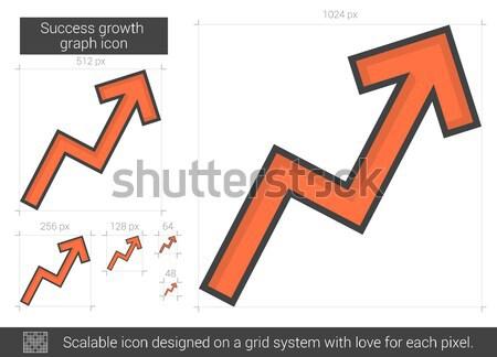 Succès croissance graphique ligne icône vecteur Photo stock © RAStudio