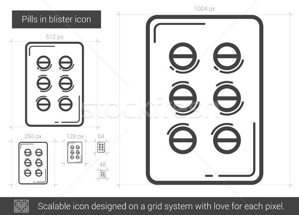Tabletták hólyag vonal ikon vektor izolált Stock fotó © RAStudio
