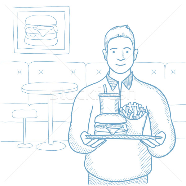 Plump man with tray full of fast food. Stock photo © RAStudio