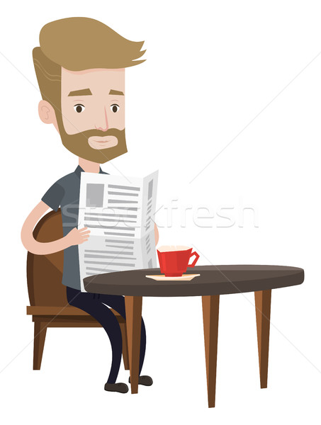 Man reading newspaper and drinking coffee. Stock photo © RAStudio
