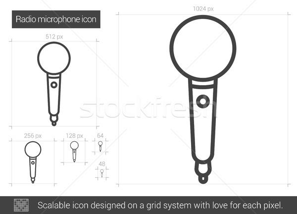 Radio microfoon lijn icon vector geïsoleerd Stockfoto © RAStudio