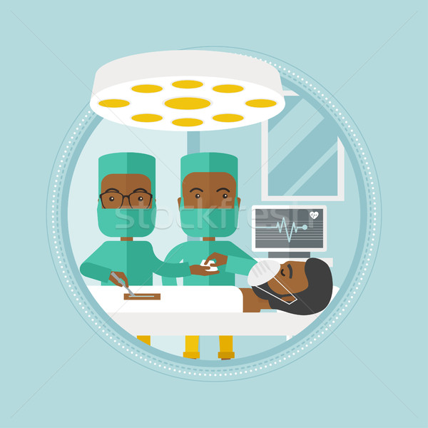 Two surgeons making operation vector illustration. Stock photo © RAStudio
