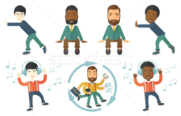 Vector set of illustrations with business people. Stock photo © RAStudio