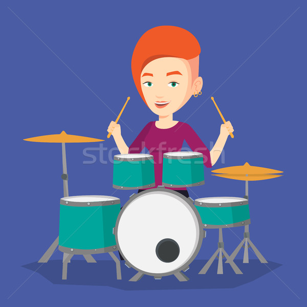 Woman playing on drum kit vector illustration. Stock photo © RAStudio