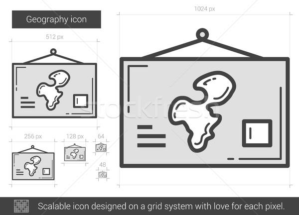 Geografia line icona vettore isolato bianco Foto d'archivio © RAStudio