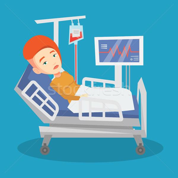 Férfi kórházi ágy fiatal kaukázusi nő ágy Stock fotó © RAStudio