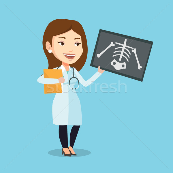 Doctor examining radiograph vector illustration. Stock photo © RAStudio