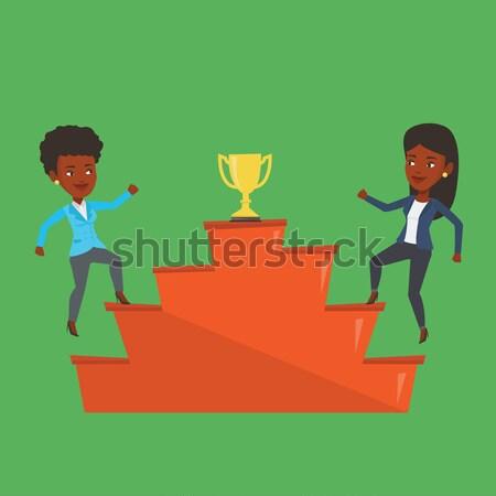 Két férfi versenyző üzlet díj kettő üzletemberek Stock fotó © RAStudio