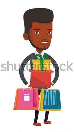 Man controlling delivery drone with post package. Stock photo © RAStudio