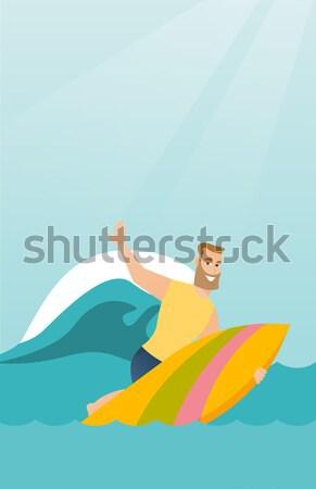Tourists riding a banana boat vector illustration. Stock photo © RAStudio