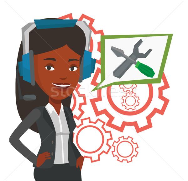 Technische ondersteuning exploitant afrikaanse hoofdtelefoon ingesteld Stockfoto © RAStudio