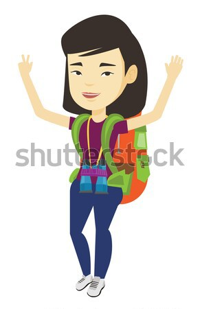Backpacker with hands up celebrating success. Stock photo © RAStudio