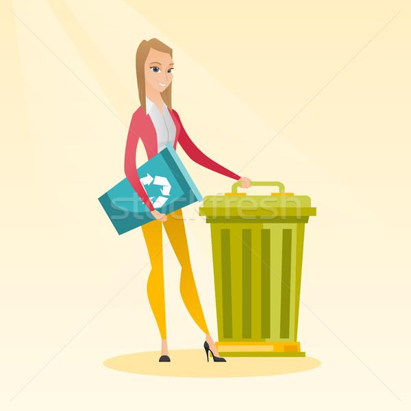 女性 リサイクル ごみ箱 小さな 白人 ストックフォト © RAStudio