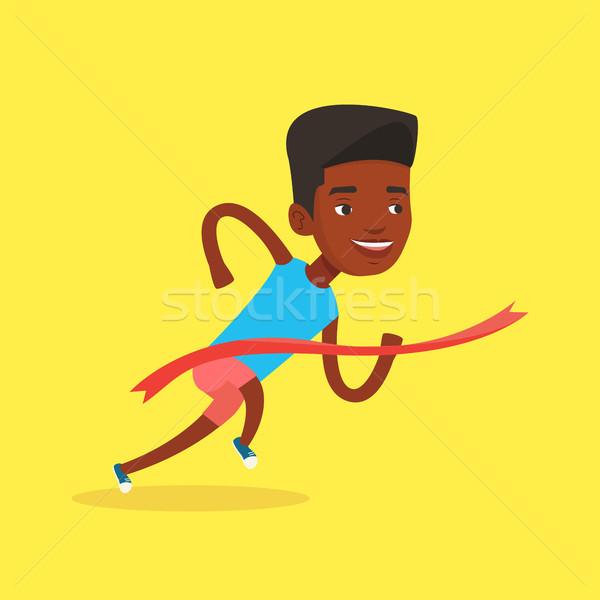 Athlete crossing finish line vector illustration. Stock photo © RAStudio