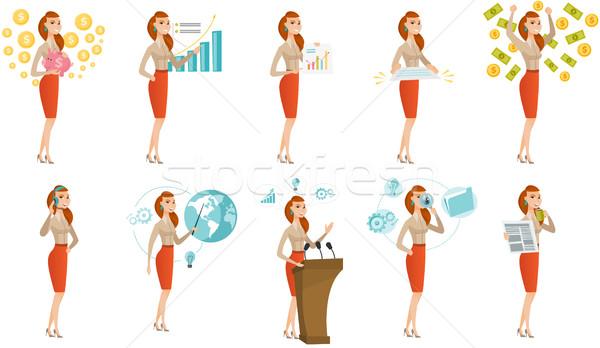Vetor conjunto ilustrações pessoas de negócios caucasiano mulher de negócios Foto stock © RAStudio