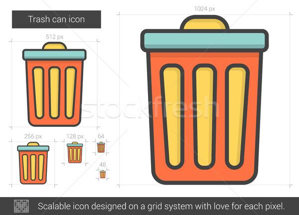 Cesto de lixo linha ícone vetor isolado branco Foto stock © RAStudio