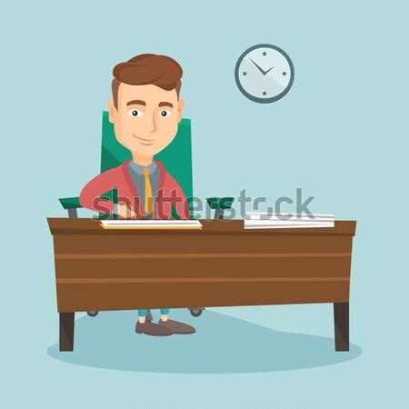 Podpisania działalności dokumentów biznesmen biuro człowiek Zdjęcia stock © RAStudio