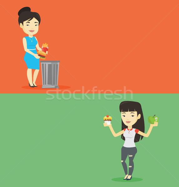 два продовольствие пить Баннеры пространстве текста Сток-фото © RAStudio