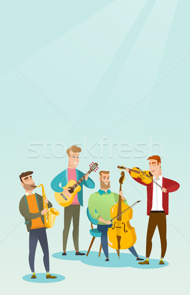 Band of musicians playing musical instruments. Stock photo © RAStudio