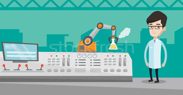 Naukowiec robotic ramię młodych nowoczesne Zdjęcia stock © RAStudio